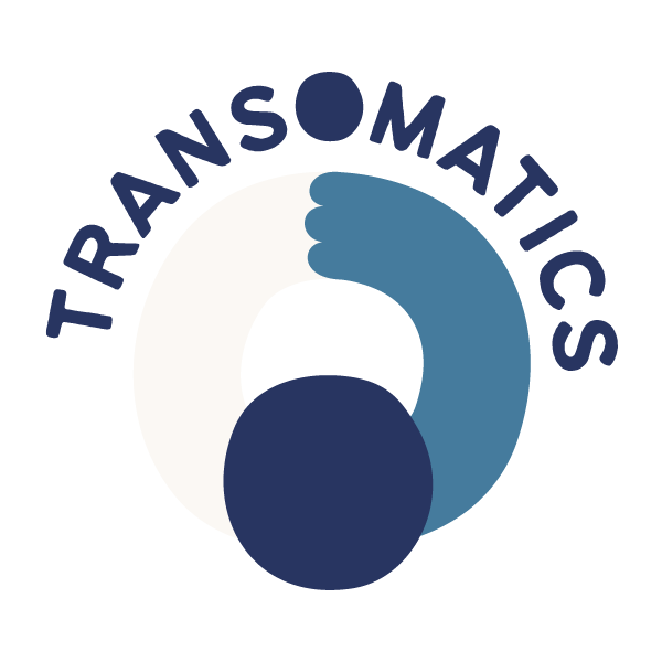 transomatics logo in blue and white, depicting a person hugging themselves and the text 'transomatics' in an arch above the person